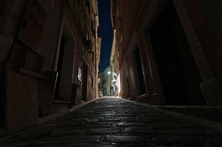 Piran street at night