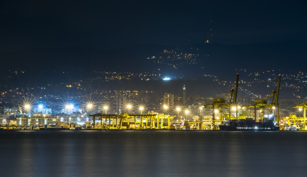 The port of Trieste by night